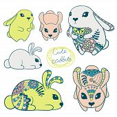 stock photo of rabbit year  - Set of cute rabbits with decorative flowers - JPG