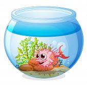 Illustration of a fish inside the transparent aquarium on a white background