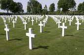 Crosses on military graves of fallen U.S. soldiers.