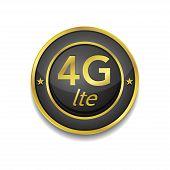 4g Sign Circular Golden Black Vector Button Icon