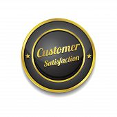 Customer Satisfaction Golden Black Vector Icon