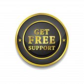 Free Support Glossy Shiny Circular Vector Button