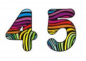 Background Skin Zebra Shaped Number Four And Five.eps
