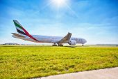 PRAGUE - SEPTEMBER 6: Emirates Boeing 777 ready for take off from Prague Airport on September 6, 201