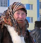 Nadym, Russia - March 11, 2005: Unknown Woman - Nenets Woman, Closeup, On The Street.