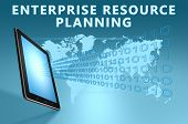 image of enterprise  - Enterprise Resource Planning illustration with tablet computer on blue background - JPG