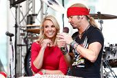 NEW YORK-JUL 18: Singer Bret Michaels (R) and Elisabeth Hasselbeck at Fox and Friends' All-American