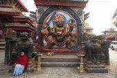 KATHMANDU, NEPAL - NOV 28, 2013: Kaal Bhairav statue at Basantapur Durbar square in Kathmandu.