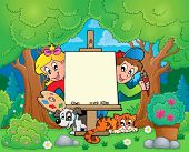 Tree theme with painting children - eps10 vector illustration.