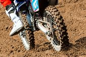 Detail View To The Wheel Of Motocross Bike