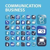 communication business, mobile, buttons icons, signs, symbols set, vector