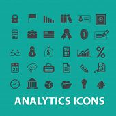 analytics, infographics, presentation, money, bank icons, signs, symbols set, vector