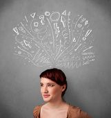 Pretty young woman with many sketched arrows pointed in different directions above her head