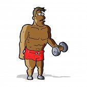 foto of weight lifter  - cartoon man lifting weights - JPG