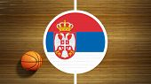 Basketball court parquet floor center with flag of Serbia