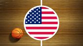 Basketball court parquet floor center with flag of USA
