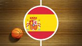 Basketball court parquet floor center with flag of Spain
