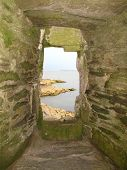 foto of stockade  - Seascape view from a blockhouse window photographed at Polruan in Cornwall - JPG