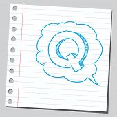 Letter Q in comic bubble