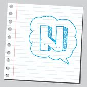 Letter N in comic bubble