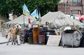 Protesters tents with barricades at Maydan Nezalezhnosti square in Kiev