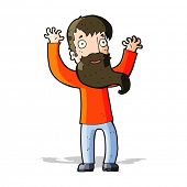 cartoon excited man with beard