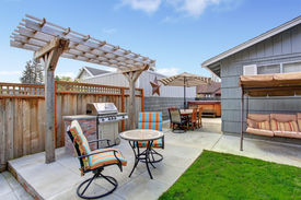 pic of grass area  - House backyard with juacuzzi small patio area and garden swing - JPG