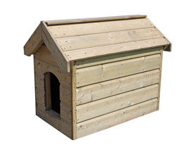 stock photo of dog-house  - A Large Wooden Outdoor New Dog Kennel - JPG
