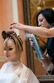 Hairdresser Makes The Wedding Hairstyle