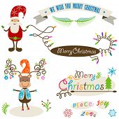 cute santa and deer, christmas colorful elements set