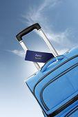Reno, Nevada. Blue Suitcase With Label
