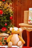 Decorated Christmas living room  on wooden wall background