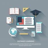 Distance learning with internet services concept