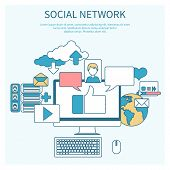 Social networks. Cloud of application icons