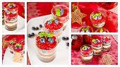 Christmas Dessert. Sweet Dessert Tiramisu With Strawberry, Fresh Blueberry And Basil Creme