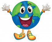 Illustration of an earth with happy face