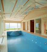 Interiors of a house with a pool painted