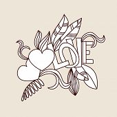 Hand drawn valentines doodle card design. Heart and Love word with  floral elements. Vector illustration for design of gift packs, wrap,  greeting cards, wallpaper, web sites and other.