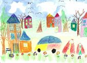 stock photo of children walking  - The image of the Watercolor Children Drawing - JPG