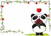pic of pandas  - vector drawing cartoon panda with border frame - JPG