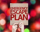 Emergency Escape Plan card with colorful background with defocused lights