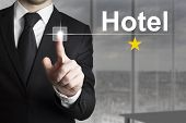 Businessman Pushing Button Hotel One Star
