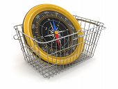 Shopping Basket and Compass (clipping path included)