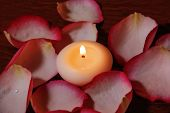 Candle And Rose Petals. Selective Focus On Candle
