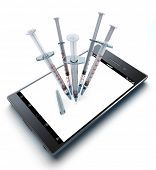 syringes injecting a smart phone