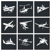 Aaircrafts Vector Icons Set