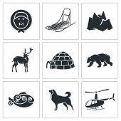 Chukchi And The Far North Vector Icons Set