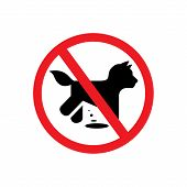 stock photo of excrement  - prohibition dog walking Vector Isolated symbol on a white background - JPG