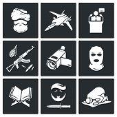 Terrorism Vector Icons Set