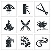 Martial Arts Vector Icons Set